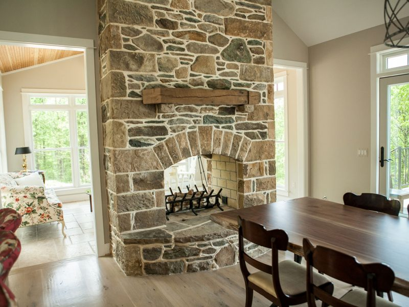 Stone See Through Fireplace - Kelley's Masonry