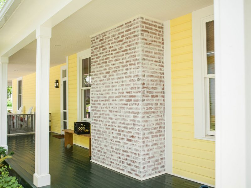 White-washed Brick Veneers Fireplace - Kelley's Masonry